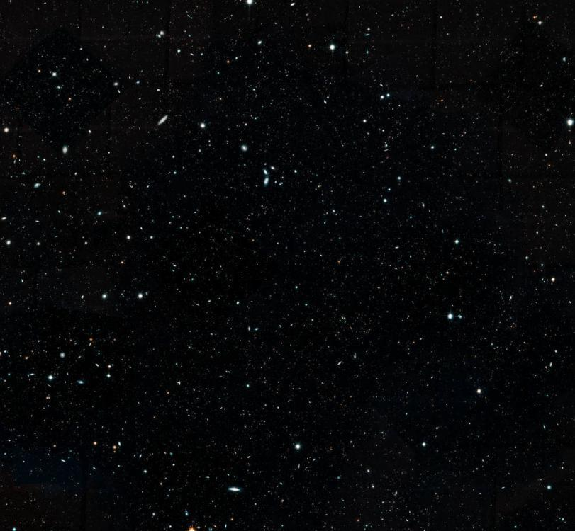 This Hubble Space Telescope image represents a portion of the Hubble Legacy Field, one of the widest views of the universe ever made. The image, a combination of thousands of snapshots, represents 16 years\' worth of observations. This cropped image mosaic presents a wide portrait of the distant universe and contains roughly 200,000 galaxies. They stretch back through 13.3 billion years of time to just 500 million years after the universe\'s birth in the big bang. (Photo/NASA)