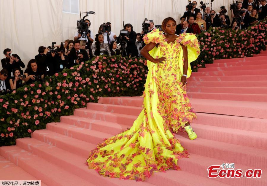 Serena Williams, one of the night\'s hosts, arrives for the 2019 Met Gala at the Metropolitan Museum of Art on May 6, 2019, in New York. (Photo/Agencies)