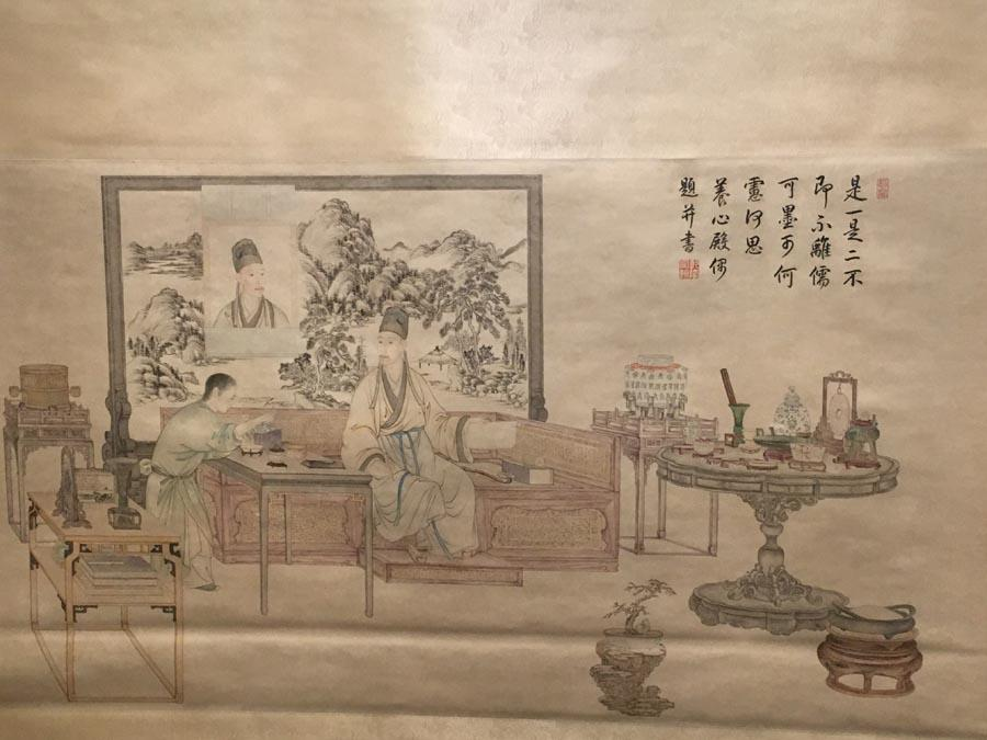 Shi Yi Shi Er Tu, a highlighted exhibit of the ongoing display, which shows Emperor Qianlong\'s pursuit of literati style. (PHOTO/CHINA DAILY) Joyful Leisure: Calligraphy and Paintings by the Emperor Qianlong and His Court Officials, an exhibition being held at the Hall of Literary Glory (Wenhua Dian), presents over 100 of the finest works produced by the emperor, his close courtiers and other members of the royal family. More than half of the works have never been publicly displayed before.  \