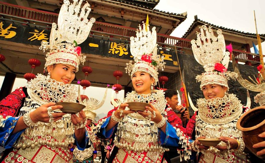 A welcoming ceremony of the Miao people in Qiandongnan Miao and Dong autonomous prefecture, Southwest China\'s Guizhou Province.   (Photo provided to chinadaily.com.cn)