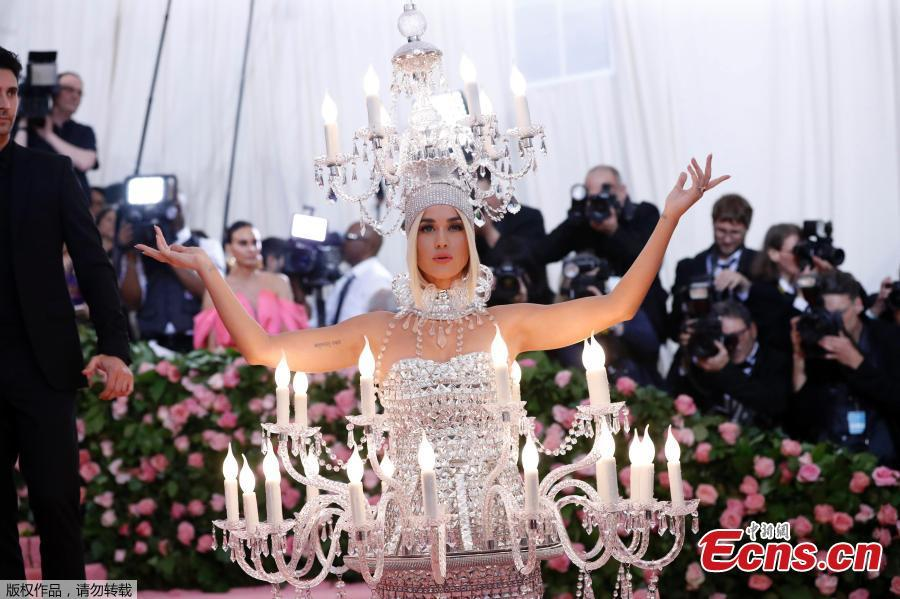 Katy Perry, wearing Moschino, arrives for the 2019 Met Gala at the Metropolitan Museum of Art on May 6, 2019, in New York. (Photo/Agencies)