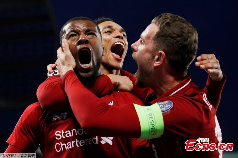 Liverpool\'s Georginio Wijnaldum (C) celebrates scoring during the UEFA Champions League Semi-Final second Leg match between Liverpool FC and FC Barcelona at Anfield in Liverpool, Britain on May 7, 2019. Liverpool won 4-3 on aggregate and reached the final. (Photo/Agencies)