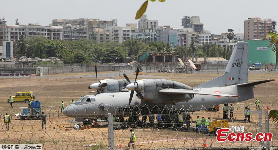 An Indian Air Force transport aircraft that overshot the runway Tuesday night sits on an unpaved surface at the Chhatrapati Shivaji Maharaj International Airport in Mumbai, India, Wednesday, May 8, 2019. Efforts are underway to move the aircraft from the unpaved surface and the same was expected to be accomplished soon, officials said.  (Photo/Agencies)