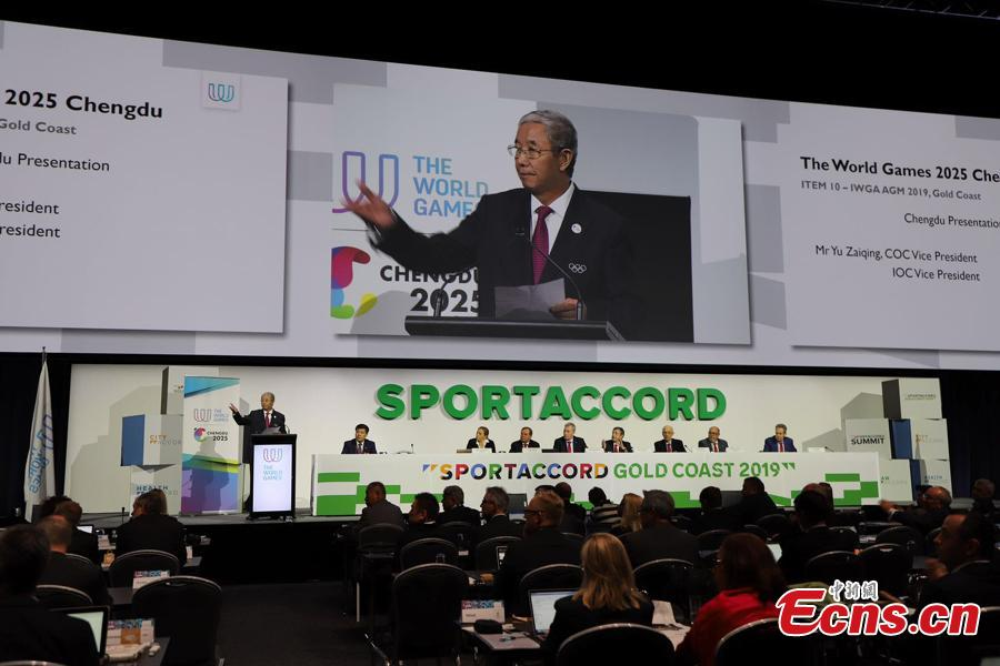 A representative from Chengdu speaks at the 2019 International World Games Association (IWGA) Congress in Gold Coast, Australia, May 9, 2019. The southwest Chinese city of Chengdu won the bid to host the 2025 World Games at the congress on Thursday. It is the first time that the Games come to the Chinese mainland. (Photo courtesy of Chengdu Sports Bureau)