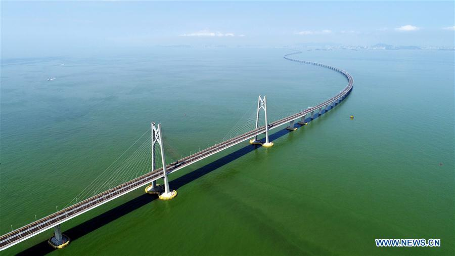 Aerial photo taken on July 11, 2018 shows the Hong Kong-Zhuhai-Macao Bridge in south China. China will hold the Conference on Dialogue of Asian Civilizations starting from May 15. Under the theme of \