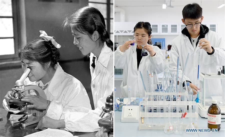 Combo photo shows young teacher Wang Shuzhen (R) guiding her student conduct an experiment at Yan\'an University in Yan\'an, northwest China\'s Shaanxi Province on July 19, 1961 (L, file photo) and students performing experiments at Yan\'an University in Yan\'an on May 6, 2019 (R, taken by Liu Xiao). Yan\'an, a former revolutionary base of the Communist Party of China (CPC), is no longer labeled \