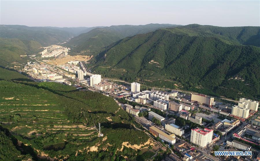 Aerial photo shows a view of Huanglong County in Yan\'an, northwest China\'s Shaanxi Province on May 31, 2018. Yan\'an, a former revolutionary base of the Communist Party of China (CPC), is no longer labeled \