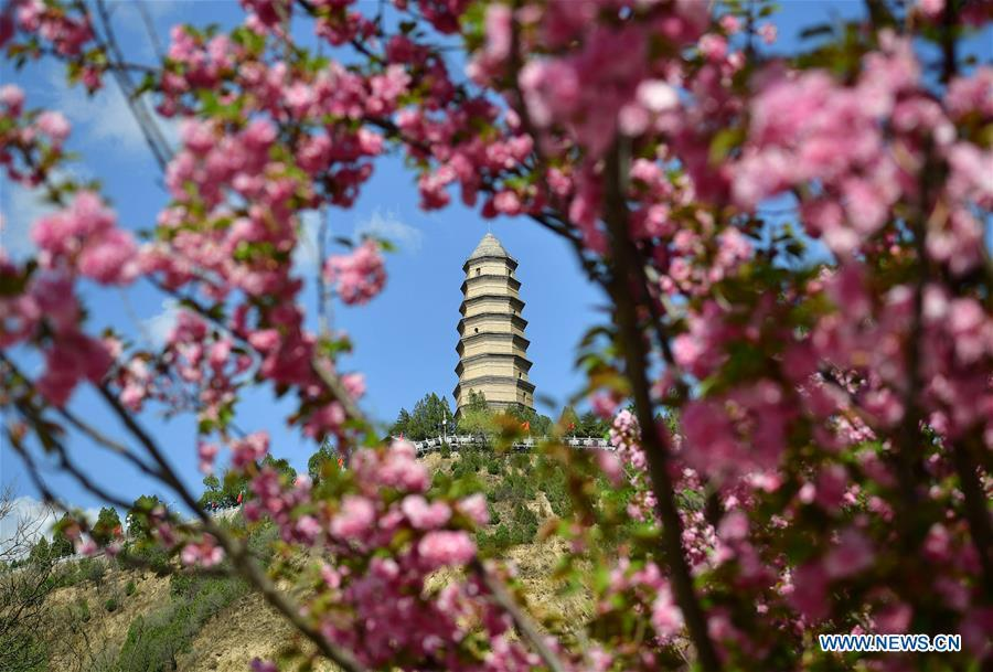 Photo shows the scenery of Baota Mountain in Yan\'an, northwest China\'s Shaanxi Province on April 21, 2019. Yan\'an, a former revolutionary base of the Communist Party of China (CPC), is no longer labeled \