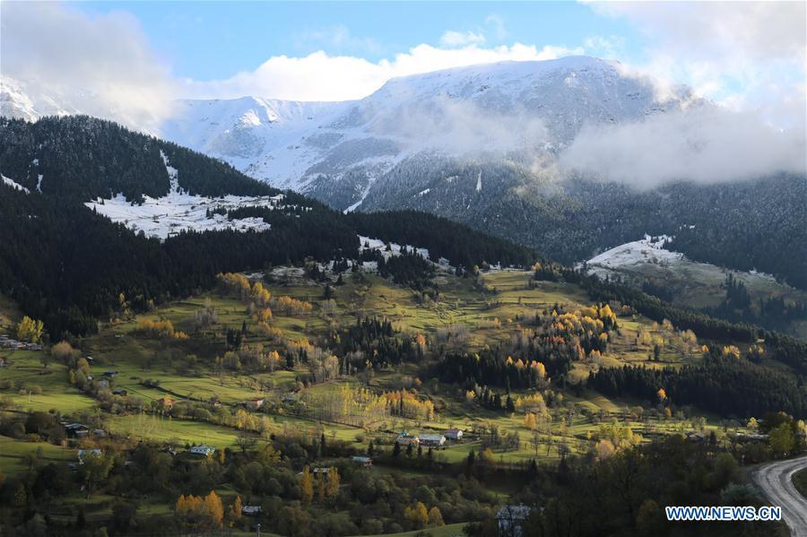 Photo taken on Oct. 27, 2018 shows the mountainous scenery in autumn at Artvin Province, Turkey. China will hold the Conference on Dialogue of Asian Civilizations starting from May 15. Under the theme of \