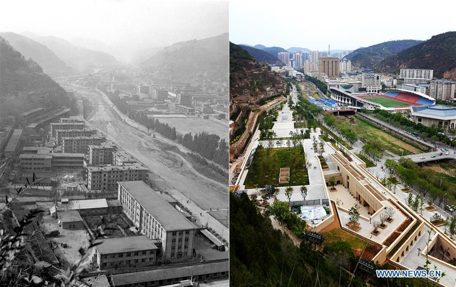 Combo photo shows a view along the Nanhe River in Yan\'an, northwest China\'s Shaanxi Province on Dec. 26, 1983 (L, file photo) and on May 5, 2019 (R, taken by Liu Xiao) respectively. Yan\'an, a former revolutionary base of the Communist Party of China (CPC), is no longer labeled \