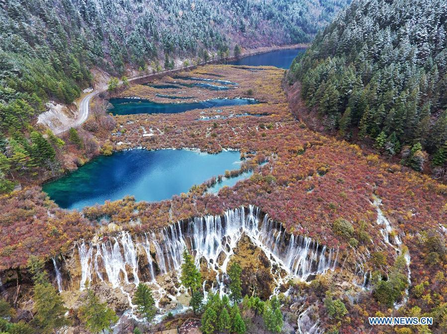 Aerial photo taken on Nov. 6, 2018 shows the scenery of one scenic area in Jiuzhai Valley in southwest China\'s Sichuan Province. China will hold the Conference on Dialogue of Asian Civilizations starting from May 15. Under the theme of \