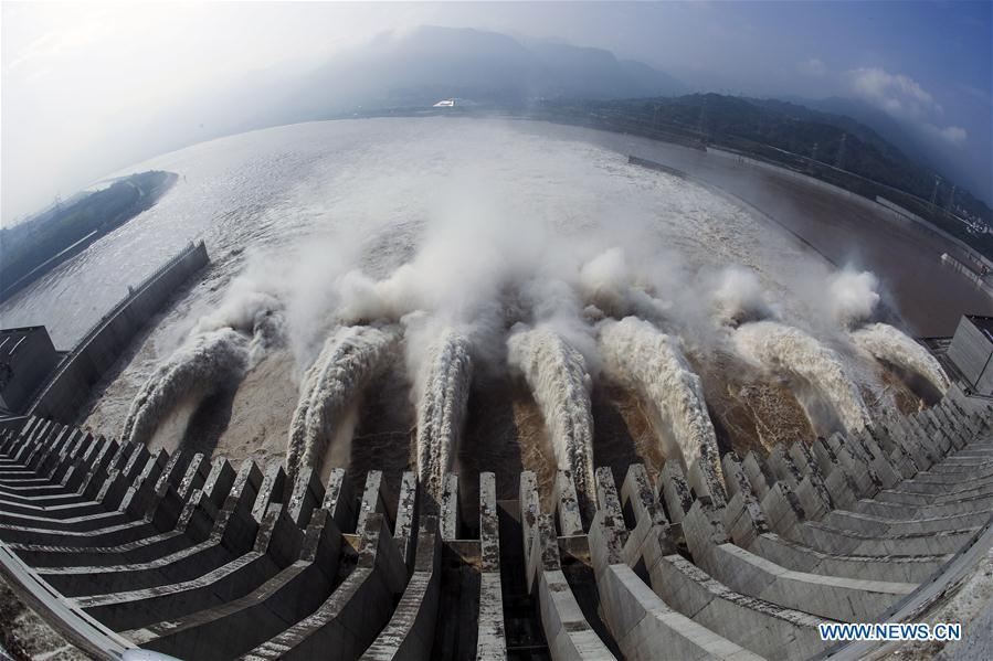 Photo taken on July 12, 2018 shows water discharging from the Three Gorges Dam, a gigantic hydropower project on the Yangtze River in China. China will hold the Conference on Dialogue of Asian Civilizations starting from May 15. Under the theme of \