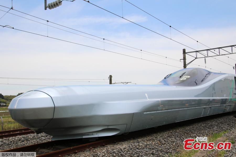 Next generation Shinkansen bullet train vehicle Car 10 of ALFA-X of East Japan Railway Company (JR East) during a media day in Rifu, Miyagi Prefecture, northern Japan, May 9, 2019. JR East will start driving test of the vehicle ALFA-X on May 10, 2019 to reach to commercial operation at 360 km/h, which speed will be the world\'s fastest as a Shinkansen bullet train. (Photo/Agencies)