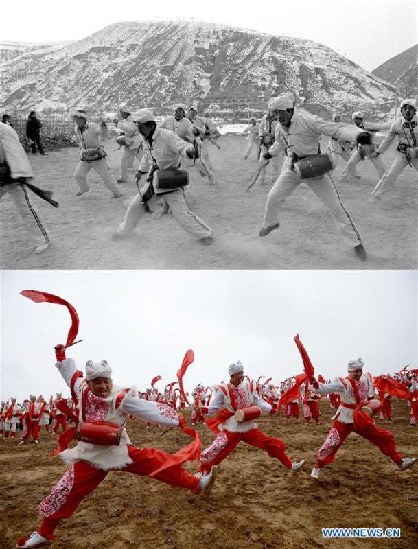 Combo photo shows villagers practicing waist drum dance at Dishuigou Village in Ansai District of Yan\'an, northwest China\'s Shaanxi Province on Feb. 5, 1989 (top, file photo) and waist drummer performing in Nangou of Ansai District in Yan\'an on Oct. 20, 2018 (bottom, taken by Liu Xiao). Yan\'an, a former revolutionary base of the Communist Party of China (CPC), is no longer labeled \