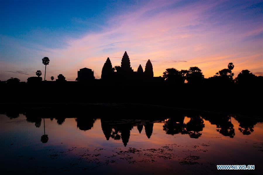 Photo taken on Oct. 20, 2016 shows the silhouette of Angkor Wat temple in Siem Reap Province, Cambodia. China will hold the Conference on Dialogue of Asian Civilizations starting from May 15. Under the theme of \