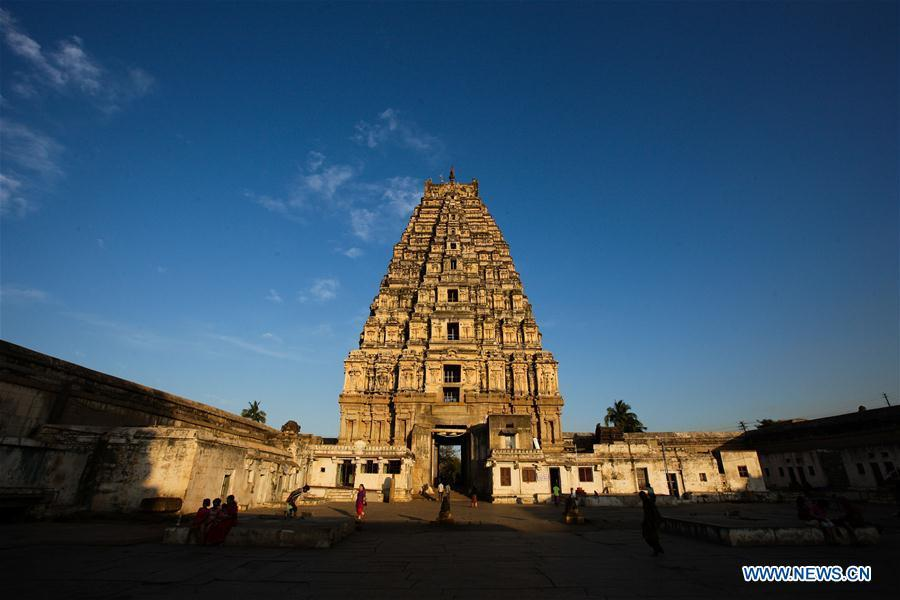 Photo taken on Feb. 6, 2015 shows the Virupaksha Temple of Hampi in Bellary District of India\'s state of Karnataka. China will hold the Conference on Dialogue of Asian Civilizations starting from May 15. Under the theme of \