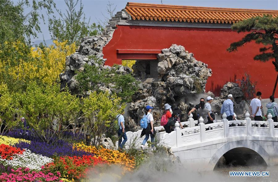 Tourists visit the Beijing Garden at the Beijing International Horticultural Exhibition in Yanqing District of Beijing, capital of China, May 10, 2019. The Beijing International Horticultural Exhibition has welcomed a large number of tourists from home and abroad since the opening. As of May 9, it has seen more than 500,000 visitors, according to the Beijing International Horticultural Exhibition Coordination Bureau. (Xinhua/Li Xin)