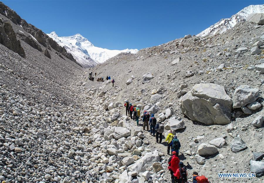 Climbers carry out adapting training on the northern face of Mount Qomolangma in southwest China\'s Tibet Autonomous Region, April 25, 2019. Every year, for a few weeks, hundreds of climbers and supporting personnel come to the base camp of the northern face of Mount Qomolangma, trying to reach the summit of the tallest and most famous mountain in the world. Before starting climbing, they need to hike several times between elevations from 5,000 meters to 7,000 meters, giving their bodies some time to adapt. When this process is over, it\'s all up to the weather. The base camp is a popular place to wait for the window. Among the six camps on the northern face, the base camp at an altitude of 5,200 meters is the furthest cars can reach and therefor the most equipped. Besides food and accommodation, climbers can also enjoy tea and massage. They can also play football on perhaps the highest field. There\'s even a simple gym in the camp. Environmental protection is a priority here. Garbage sacks are given to each climbing team. Special containers are put in every camp to collect trash and sewage. The collected trash must be treated 100 kilometers away, and the only road is a zigzagging track. It is not trucks, but yaks that are generally used to make the journey. Actually yaks are vital on the mountain. Beyond the base camp, yak is the only reliable transport. (Xinhua/Sun Fei)
