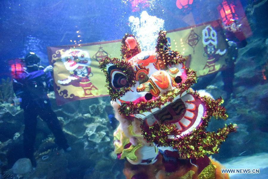 Divers perform underwater lion dance during a media preview at Aquaria KLCC underwater park in Kuala Lumpur, Malaysia, Jan. 30, 2019. China will hold the Conference on Dialogue of Asian Civilizations starting from May 15. Under the theme of \