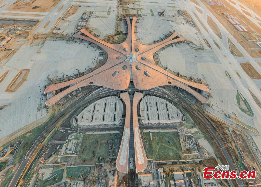 A bird\'s-eye view of the new Beijing Daxing International Airport, which will officially open by the end of September. (Photo/VCG)