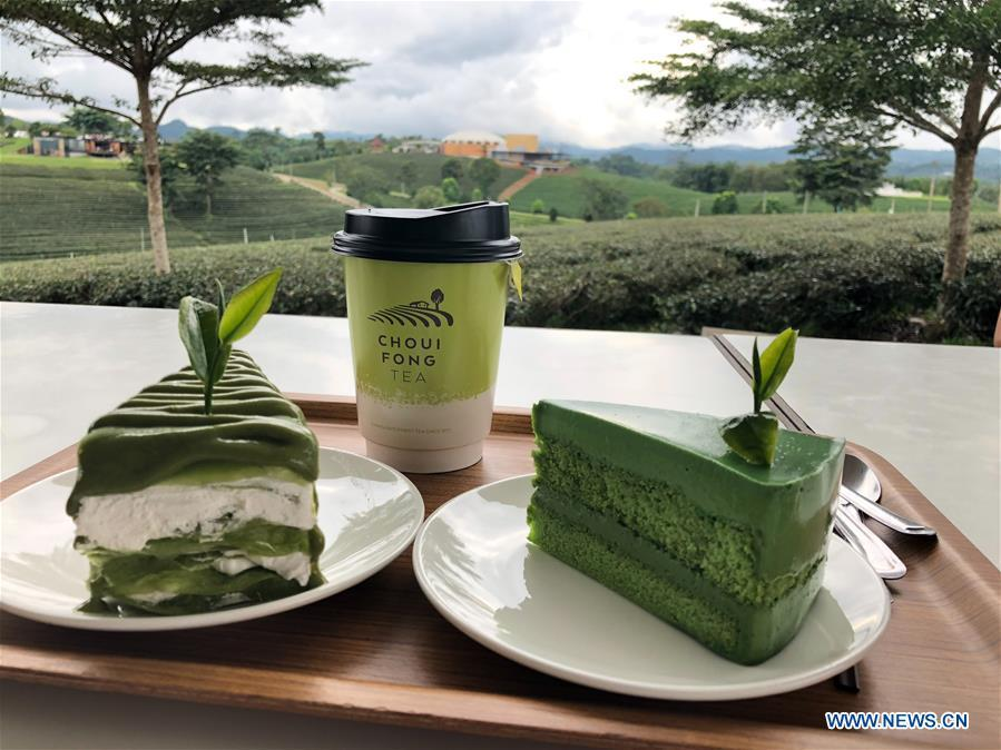 Photo taken on Oct. 23, 2018 shows matcha food at a tea garden in Chiang Rai, Thailand. As an important part of Asian culture, tea is a special bond among Asian countries to deepen friendship and boost mutual exchanges. China will hold the Conference on Dialogue of Asian Civilizations starting from May 15. Under the theme of \