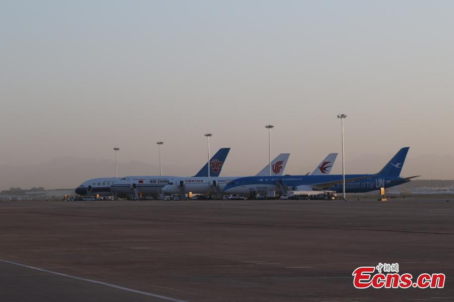 Four planes are set to take a test flight at the new Beijing Daxing International Airport on May 13, 2019. Air China, China Eastern Airlines, China Southern Airlines and Xiamen Airlines each dispatched an aircraft for the test. (Photo/VCG)