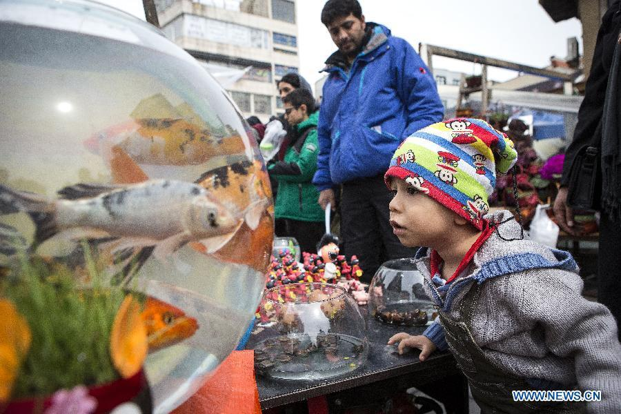 A boy looks at goldfish in Tajrish bazaar in Tehran, Iran, March 18, 2019, ahead of Nowruz or the Iranian New Year. China will hold the Conference on Dialogue of Asian Civilizations starting from May 15. Under the theme of \