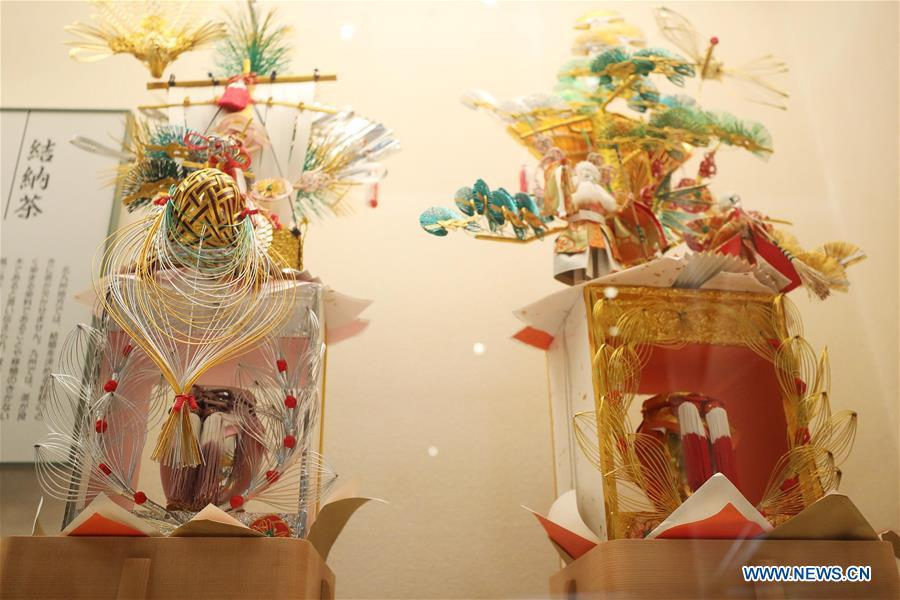 Photo taken on May 5, 2019 shows tea containers used as wedding gift, at Iruma City Museum of Saitama, Japan. As an important part of Asian culture, tea is a special bond among Asian countries to deepen friendship and boost mutual exchanges. China will hold the Conference on Dialogue of Asian Civilizations starting from May 15. Under the theme of \