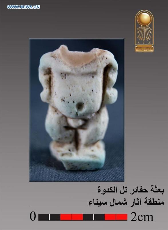 The undated photo provided by the Egyptian Ministry of Antiquities on May 13, 2019 shows an antiquity discovered in a military castle in North Sinai, Egypt. An Egyptian archeological mission has discovered remnants of a military castle that dates back to Psamtik era from 664-610 BC in North Sinai province, the country\'s Ministry of Antiquities said in a statement on Monday. (Xinhua)
