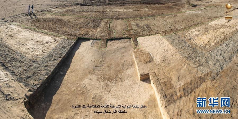 The undated photo provided by the Egyptian Ministry of Antiquities on May 13, 2019 shows the site of the discovered military castle in North Sinai, Egypt. An Egyptian archeological mission has discovered remnants of a military castle that dates back to Psamtik era from 664-610 BC in North Sinai province, the country\'s Ministry of Antiquities said in a statement on Monday. (Xinhua)