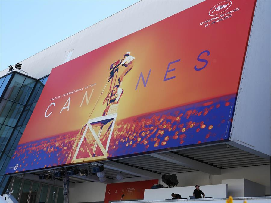 Workers make preparations for the 72nd edition of Cannes Film Festival in Cannes, France, on May 13, 2019. The 72nd edition of Cannes Film Festival will kick off on May 14. (Xinhua/Gao Jing)