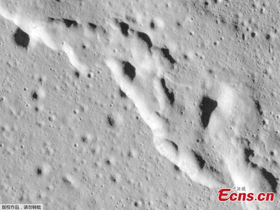 In this image, a mosaic composed of many images taken by NASA\'s Lunar Reconnaissance Orbiter, and released by NASA on May 13, 2019, show new surface features of the Moon, discovered in a region called Mare Frigoris. These ridges add to evidence that the Moon has an actively changing surface. (Photo/Agencies)