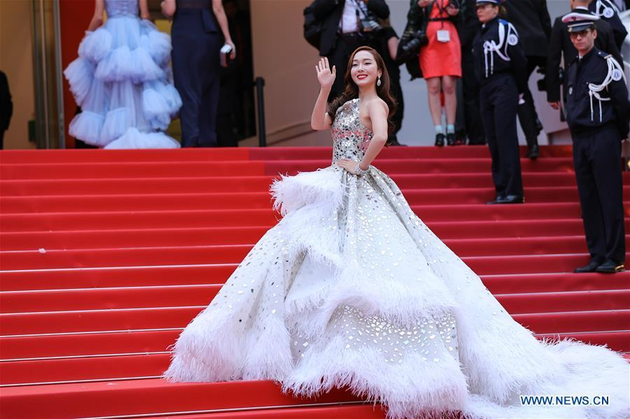 Actress and singer Jessica Jung attends the opening gala during the 72nd Cannes Film Festival at Palais des Festivals in Cannes, France, on May 14, 2019. The 72nd Cannes Film Festival is held here from May 14 to 25. (Xinhua/Zhang Cheng)
