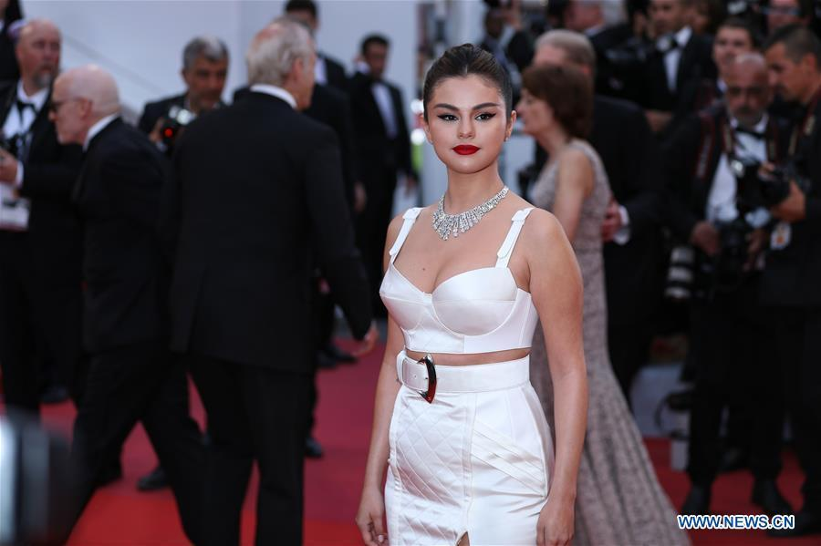 Actress Selena Gomez attends the opening gala during the 72nd Cannes Film Festival at Palais des Festivals in Cannes, France, on May 14, 2019. The 72nd Cannes Film Festival is held here from May 14 to 25. (Xinhua/Zhang Cheng)
