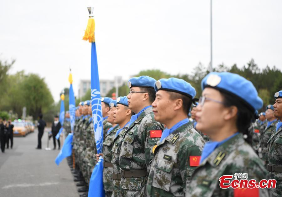 Chinese soldiers to work as peacekeepers in Mali prepare to board a military plane at Harbin Taiping International Airport in Harbin, Northeast China's Heilongjiang Province, May 14, 2019. The soldiers will form the 7th Chinese peacekeeping force to Mali, dispatched for one year on a UN mission. (Photo: China News Service/Yang Zaixin)
