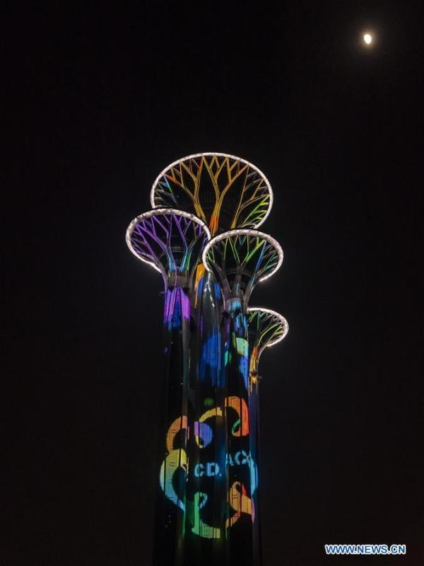 Photo taken on May 14, 2019 shows the night view of the Olympic Tower in Beijing, capital of China. Roads and buildings were illuminated Tuesday evening before the upcoming Conference on Dialogue of Asian Civilizations (CDAC) in Beijing. (Xinhua/Shen Bohan)