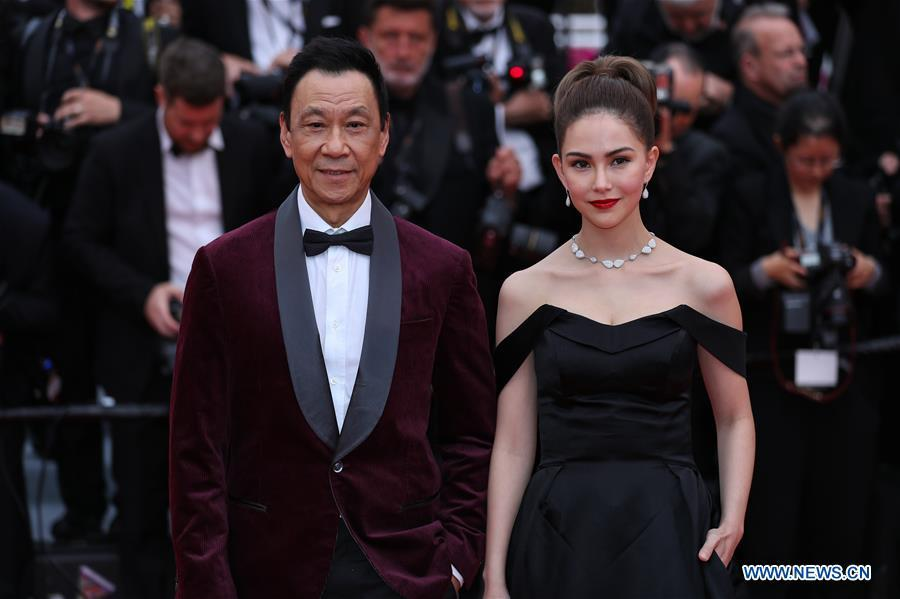 Actor Wang Xueqi and actress Hannah Quinlivan attend the opening gala during the 72nd Cannes Film Festival at Palais des Festivals in Cannes, France, on May 14, 2019. The 72nd Cannes Film Festival is held here from May 14 to 25. (Xinhua/Zhang Cheng)