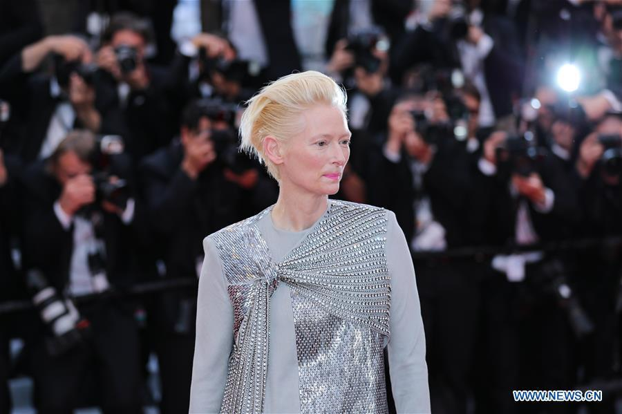 Actress Tilda Swinton attends the opening gala during the 72nd Cannes Film Festival at Palais des Festivals in Cannes, France, on May 14, 2019. The 72nd Cannes Film Festival is held here from May 14 to 25. (Xinhua/Zhang Cheng)