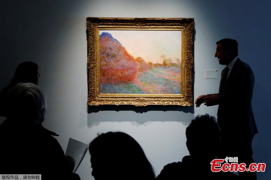 The painting by Claude Monet, part of the Haystacks \
