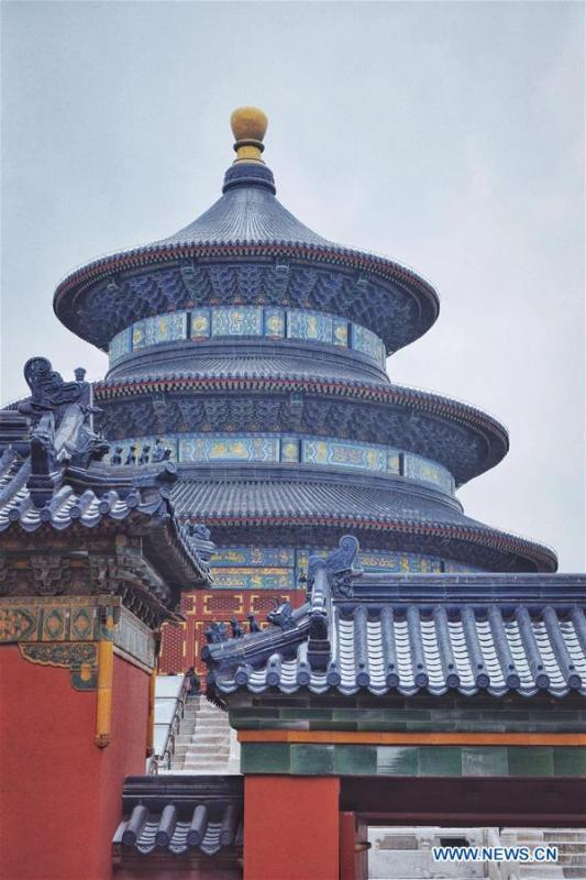 This photo taken by Feng Ganyu shows the Hall of Prayer for Good Harvests in snow at the Temple of Heaven in Beijing, capital of China, Feb. 14, 2019. A photographic exhibition themed \