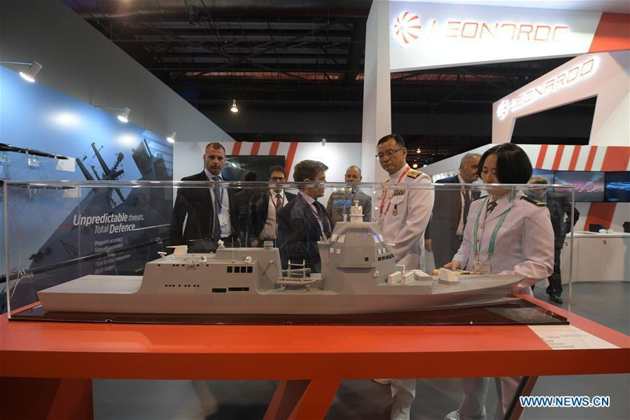 Visitors view exhibits at the 12th International Maritime Defense Exhibition and Conference (IMDEX Asia) in Singapore\'s Changi Exhibition Centre May 14, 2019. Singapore Defense Minister Ng Eng Hen welcomed here Tuesday foreign navies attending the 12th International Maritime Defense Exhibition and Conference (IMDEX Asia) at its opening ceremony. A total of 23 warships from 15 countries sailed their way to IMDEX Asia at the Changi Naval Base, together with 26 chiefs of defense forces and navies, vice chiefs, directors-general of coast guards and senior naval officers. (Xinhua/Then Chih Wey)
