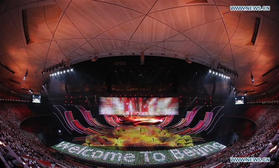 An Asian culture carnival is held during the Conference on Dialogue of Asian Civilizations (CDAC) at the National Stadium, or the Bird\'s Nest, in Beijing, capital of China, May 15, 2019. (Xinhua/Shen Bohan)