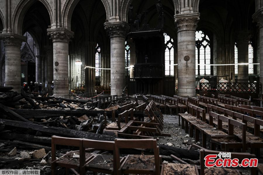 Damages and rubble are pictured inside the Notre Dame de Paris Cathedral, Wednesday May 15, 2019 in Paris. French Culture Minister Franck Riester says that one month after a fire engulfed Notre Dame Cathedral, the edifice is still being made safe enough for restoration to begin. (Photo/Agencies)
