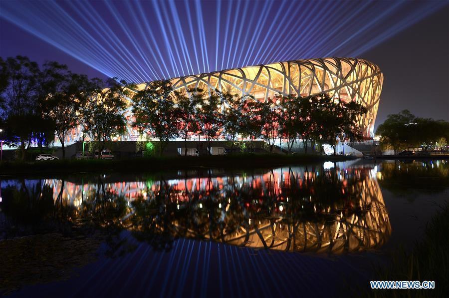 An Asian culture carnival is held during the Conference on Dialogue of Asian Civilizations (CDAC) at the National Stadium, or the Bird\'s Nest, in Beijing, capital of China, May 15, 2019. (Xinhua/Li He)