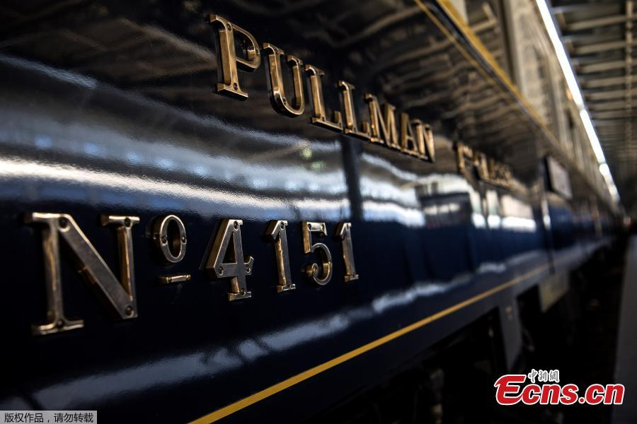 This picture taken on May 13, 2019 shows the carriage number of a restored Orient Express train displayed at the Gare de l\'Est train station in Paris. (Photo/Agencies)