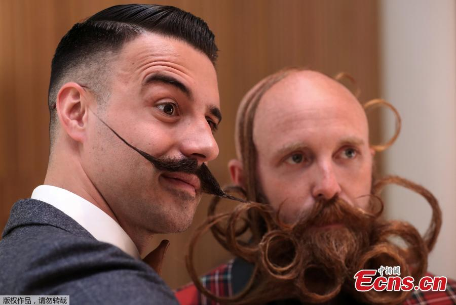 People take part in the international World Beard and Moustache Championships in Antwerp, Belgium May 18, 2019.(Photo/Agencies)