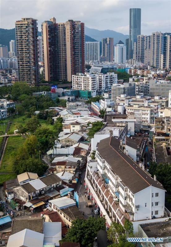 Aerial photo taken on May 18, 2019 shows the scenery of the Chung Ying Street and adjacent areas. The Chung Ying Street (Chung Ying means China and Britain), linking Shenzhen of Guangdong Province and Hong Kong in south China, has once again set sail in the development of the Guangdong-Hong Kong-Macao Greater Bay Area and embarked on a new journey towards high-quality development. (Xinhua/Meng Chenguang)