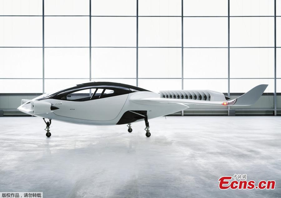 An illustration obtained from the Lilium website on May 16, 2019, shows a battery-powered five-seater aircraft prototype, that Lilium hopes to bring into service by 2025. (Photo/Agencies)