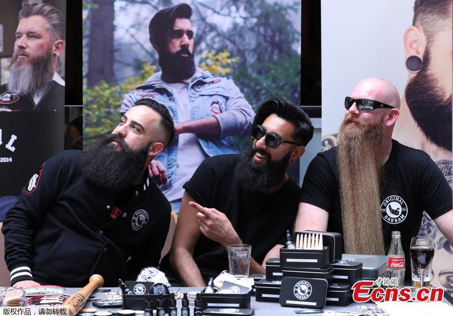 People take part in the international World Beard and Moustache Championships in Antwerp, Belgium May 18, 2019. (Photo/Agencies)