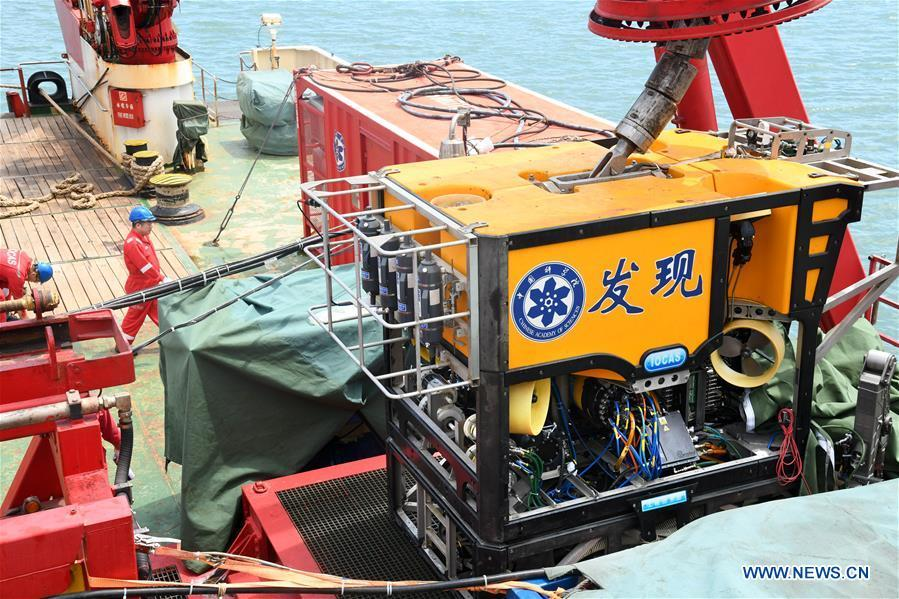 Photo taken on May 18, 2019 shows an unmanned remote sensing submersible equipped for Chinese research vessel Science.  (Photo/Xinhua)
